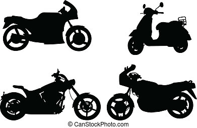 silhouettes, motorcycles