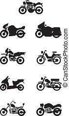 silhouettes, motos, /, motocyclette