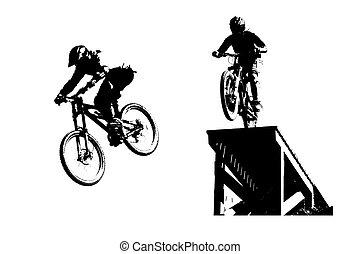 silhouettes, mountainbike