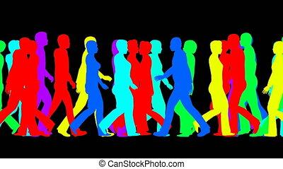 silhouettes, mouvements, lentement, foule, gens