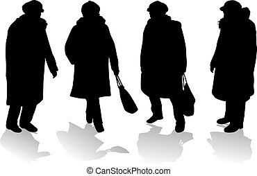 silhouettes., mulheres