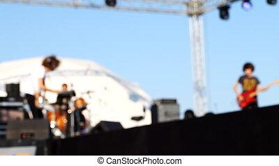 silhouettes, musiciens, étape