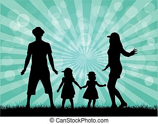 silhouettes,  nature, famille