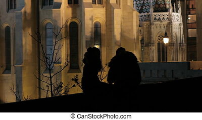 Silhouettes, night, lovers - Night video shooting a pair of...