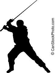 silhouettes, ninja, vecteur