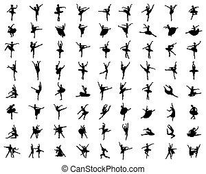 silhouettes, noir, ballerines