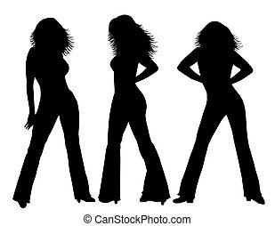 silhouettes, noir, blanc, femme