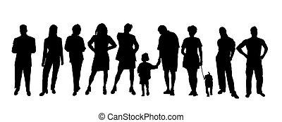 silhouettes, noir, blanc, gens