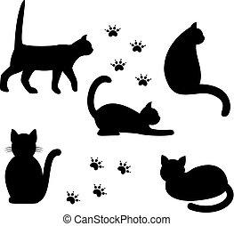 silhouettes, noir, cats.
