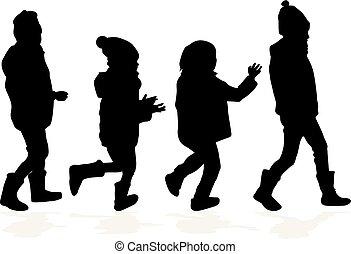 silhouettes., noir, childrens