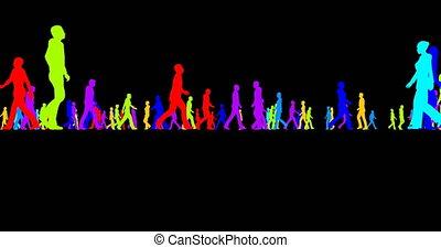 silhouettes, noir, coloré, foule, gens