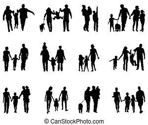 silhouettes, noir, familles
