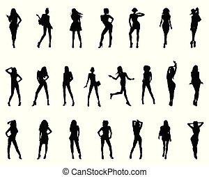silhouettes, noir, femmes