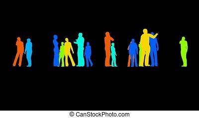 silhouettes, noir, gens