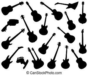 silhouettes, noir, guitares