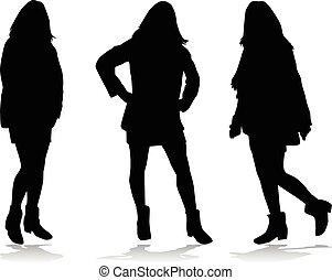 silhouettes, noir, women.