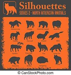 Silhouettes - North American animals.