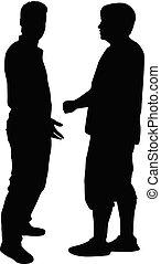 silhouettes, o, 2 voják, mluvil.