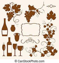 silhouettes., objeto, desenho, winery