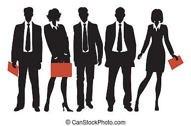 silhouettes, of, бизнес, люди