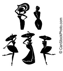 silhouettes, of, женщины