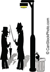 silhouettes of 2 men under lamp post with cat