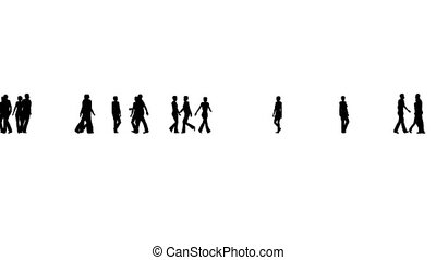 Silhouettes of a crowd people on white Business concept.