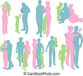 Silhouettes of a Happy Family