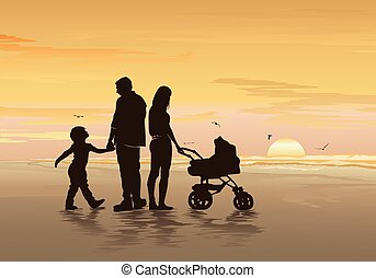 Silhouettes of a happy family with their kids on the beach - Vector illustration