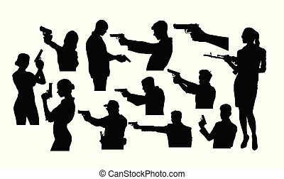 Silhouettes of A Person Holding A Gun