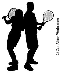 Silhouettes of Adult Couple Playing Tennis with Clipping Path
