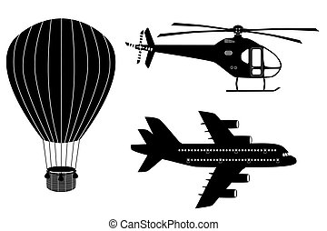 Silhouettes of air transport