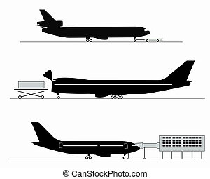 Silhouettes of aircraft at the airport