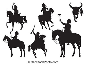 Silhouettes of American Indians on horseback isolated on white background