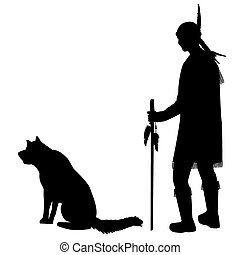Silhouettes of an American Indian with his dog - Silhouettes...