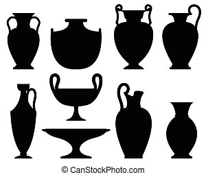 Silhouettes of ancient vases