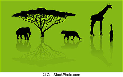 Silhouettes of animals from safari