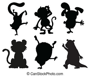 Silhouettes of animals in black and gray colors -...