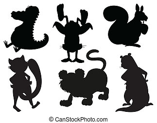 Silhouettes of animals in gray and black colors