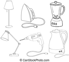Silhouettes of appliances