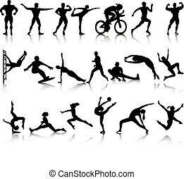 Silhouettes of athletes from different sports. Vector...