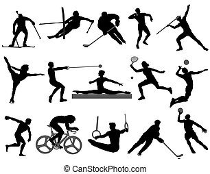 sports - Silhouettes of athletes on trainings and ...