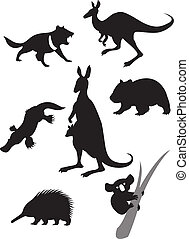 Silhouettes of australian animals - Vector image of...