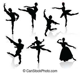Silhouettes of ballerinas and dancer in movement on a white...