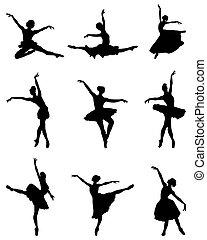 silhouettes of ballerinas