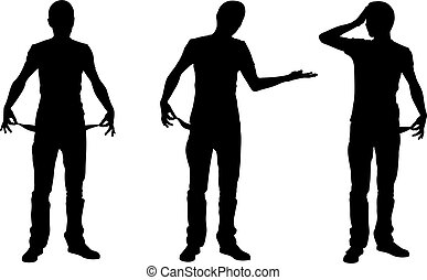 Silhouettes of bankrupt men isolated on white
