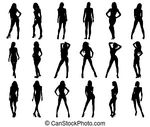 girls - Silhouettes of beautiful and sexy girls, vector