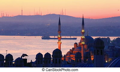Silhouettes of beautiful Bosphorus at dawn, Turkey - Scenic...