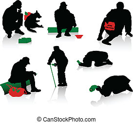 Silhouettes of beggars and homeless people