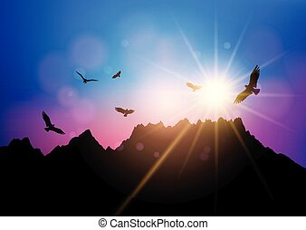 silhouettes of birds flying against sunset sky 2804